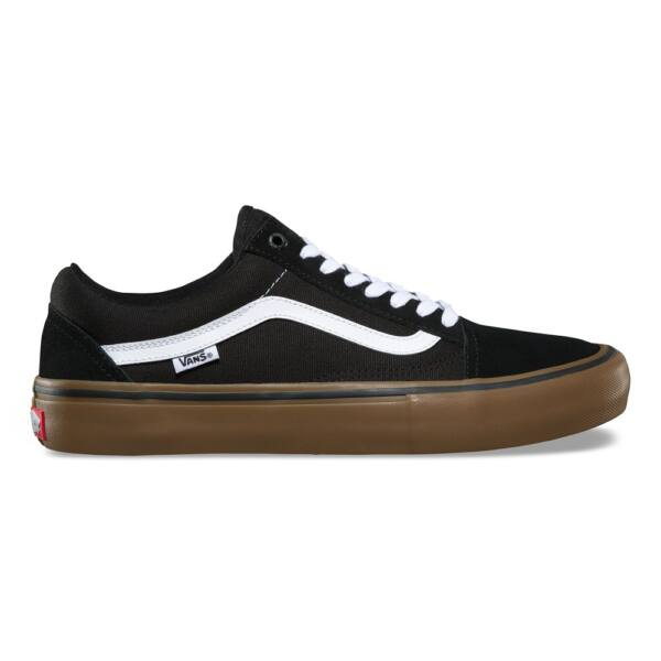Vans old skool pro fekete cipő barna gumi talppal és fehér vans csíkkal az oldalán