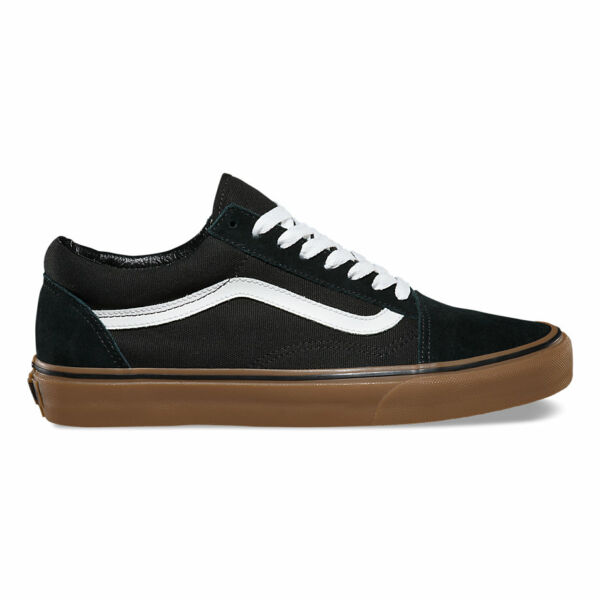 VANS Old Skool (Gumsole) fekete barna gumitalpú cipő fehér vans csíkkal az oldalán