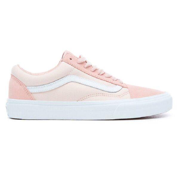 rózsaszín hasított bőr vans old skool cipő, fehér vans csíkkal az oldalán