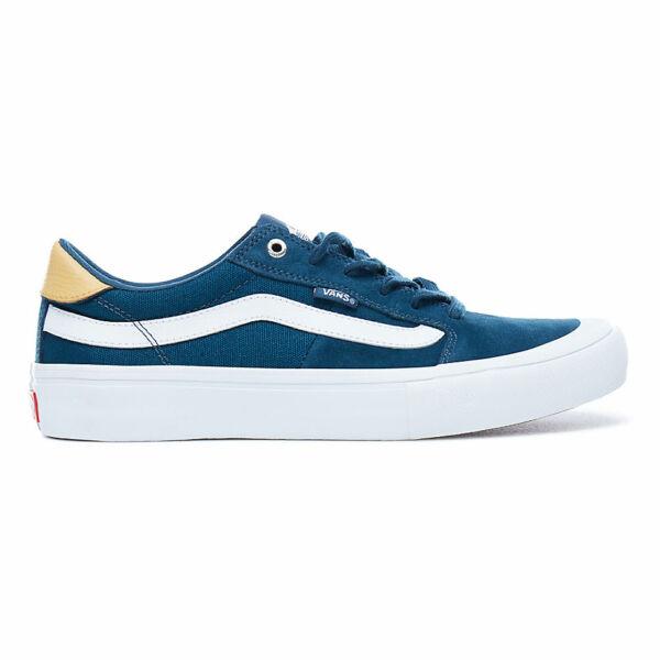 VANS Style 112 Pro kék hasított bőr gördeszkás cipő fehér vans csíkkal az oldalán