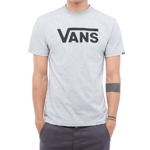 világos melírszürke rövid ujjú póló, fekete Vans felirattal