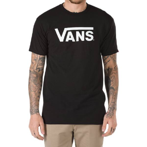 fekete rövid ujjú póló, fehér Vans felirattal