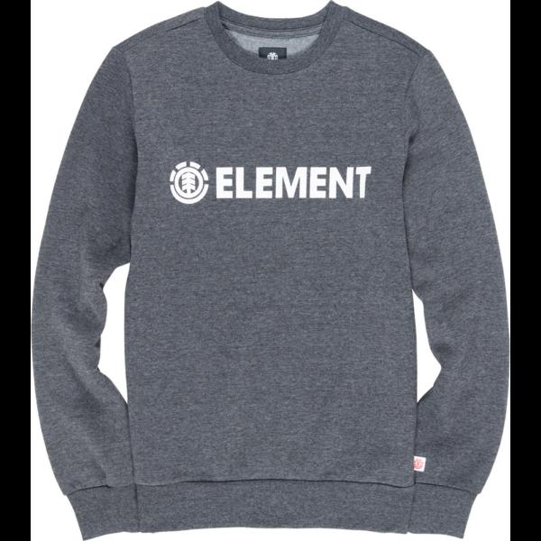 sötét melír szürke Element környakas pulóver fehér nyomott Element felirattal