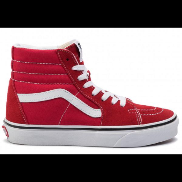 VANS SK8-HI piros magasszárú cipő fehér vans csíkkal az oldalán
