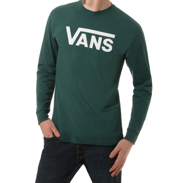 VANS Classic LS #  Vans Trekiing green / White vékony hosszú ujjú póló