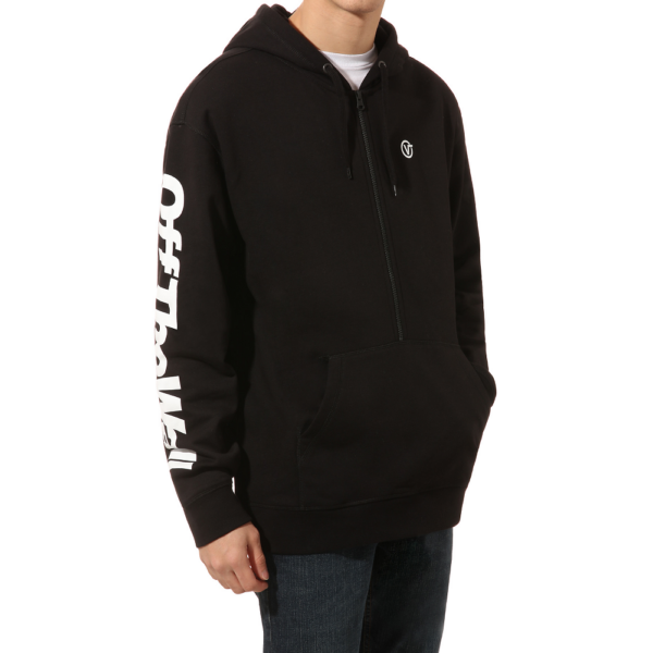 VANS Distorted Oversized Half Zip  #  Black cipzáros pulóver