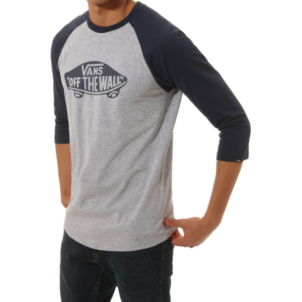 VANS OTW Raglan - Athletic heather / Dress blues Custom fit fazonú 3/4-es ujjú póló nyomott mintával