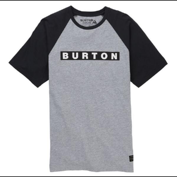 szürke Burton póló fekete ujjal és burton felirattal