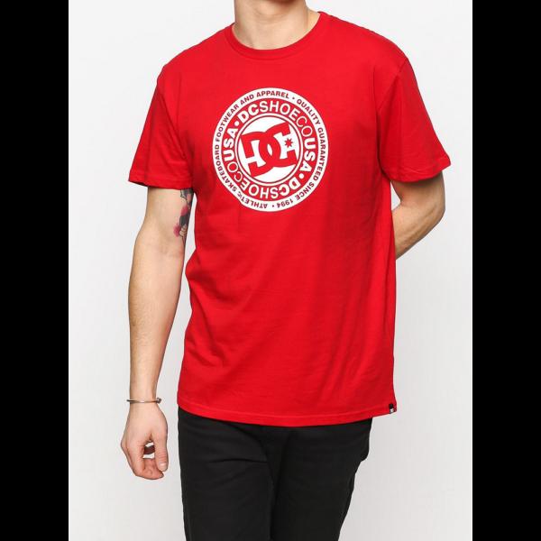 DC Circle Star piros póló fehér dc logóval és felirattal