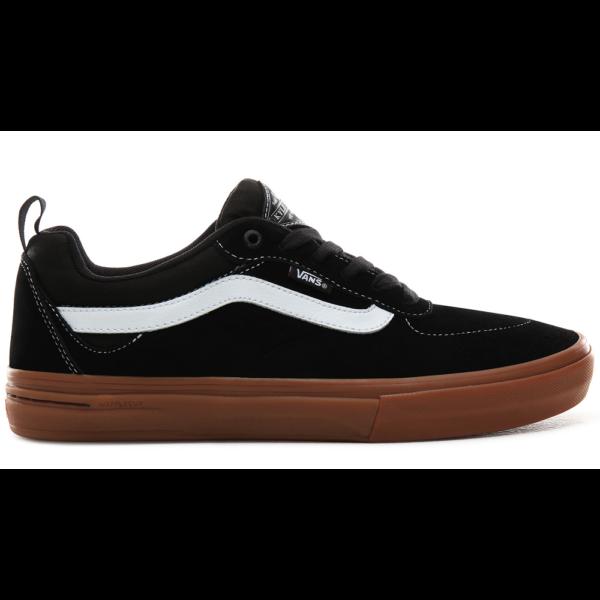 fekete hasított bőr és vászon vans cipő, oldalán fehér vans csíkkal és barna gumi talppal