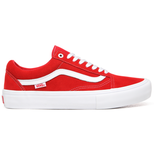 piros vans old skool pro gördeszkás cipő vans csíkkal az oldalán