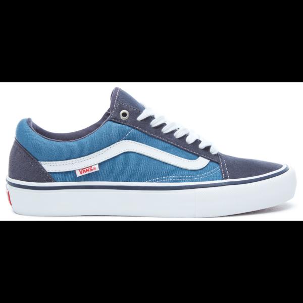 Vans old skool pro kék hasított bőr gördeszkás cipő fehér vans csíkkal az oldalán