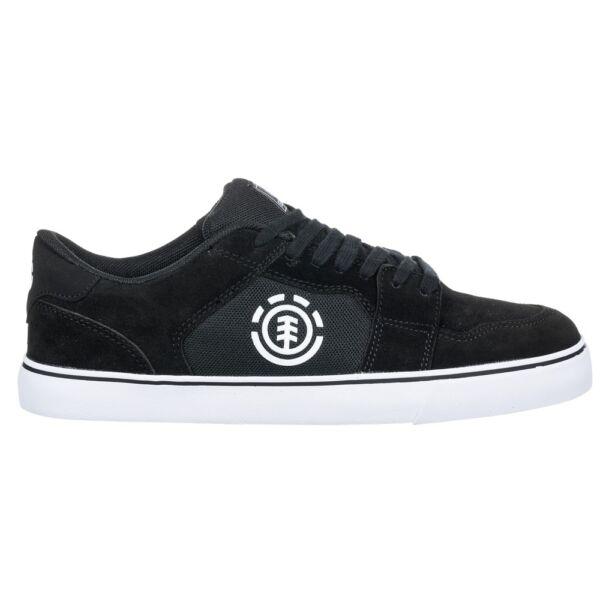 fekete element hasított bőr gördeszkás cipő, fehér element jellel az oldalán