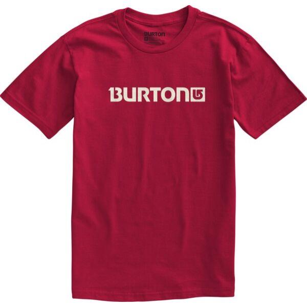 piros rövid ujjú póló, nyomott fehér Burton felírattal