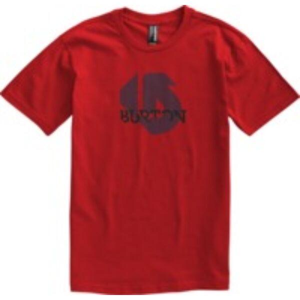 piros rövid ujjú póló ,szürke nyomott Burton logóval