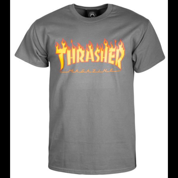 sötét szürke thrasher póló, sárga lángos thrasher felírattal