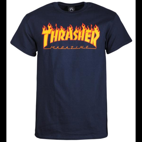 sötétkék thrasher póló, sárga lángos thrasher felírattal