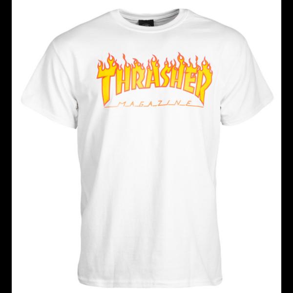 fehér thrasher póló, sárga lángos thrasher felírattal