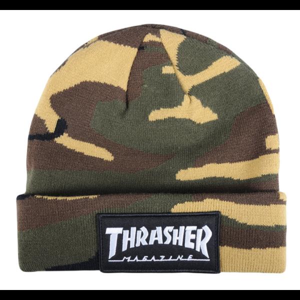 THRASHER Logo Patch - camo kötött sapka